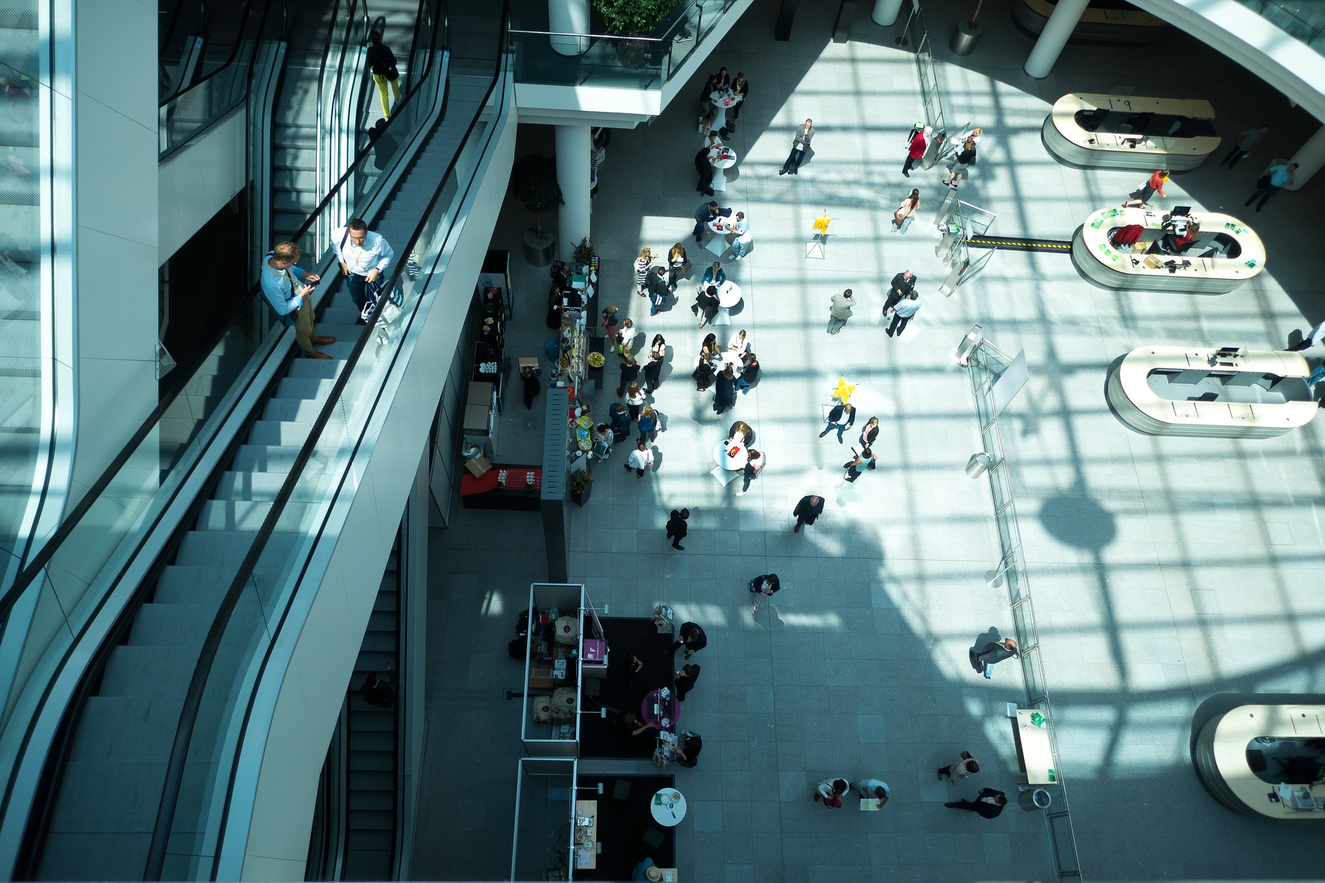 stock image of a convention, view from above of an escalator